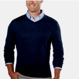 Calvin Klein Merino Wool v neck Navy sweater